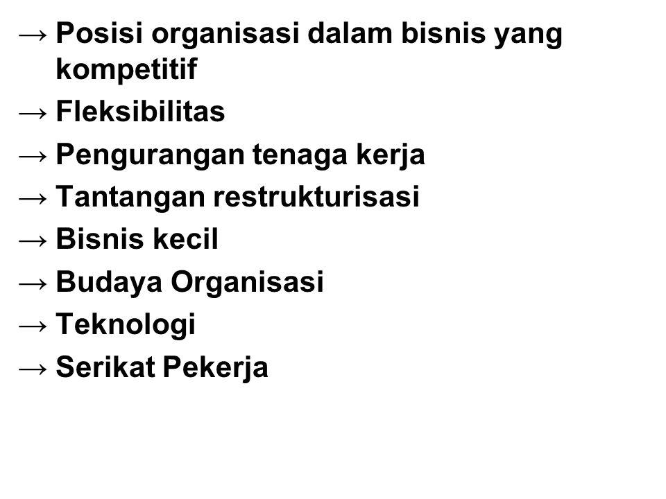 → Posisi organisasi dalam bisnis yang kompetitif → Fleksibilitas → Pengurangan tenaga kerja → Tantangan restrukturisasi → Bisnis kecil →Budaya Organis