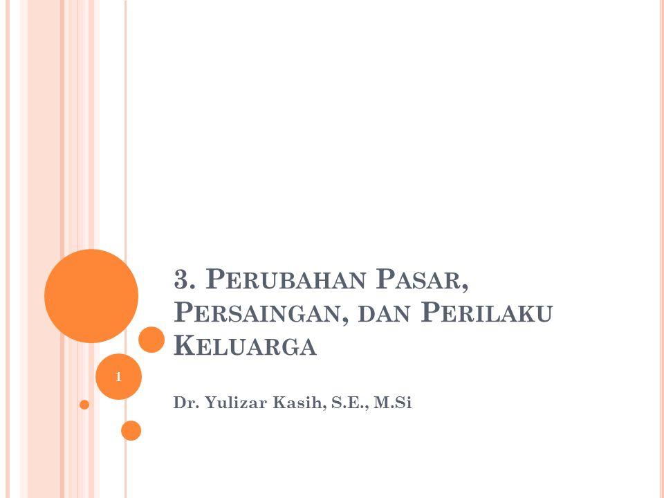 3. P ERUBAHAN P ASAR, P ERSAINGAN, DAN P ERILAKU K ELUARGA Dr. Yulizar Kasih, S.E., M.Si 1