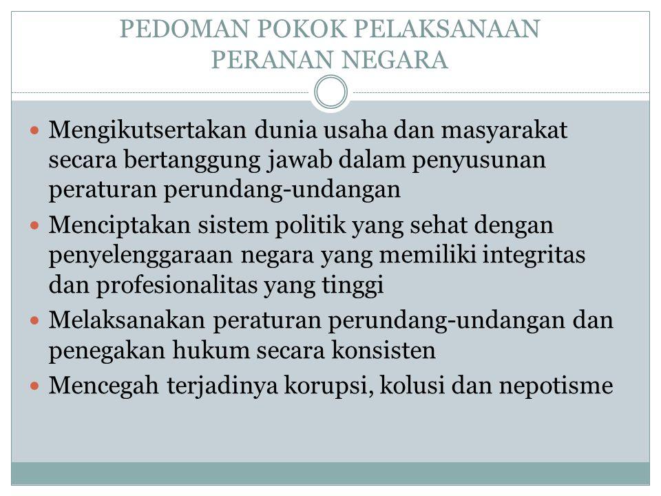 PEDOMAN POKOK PELAKSANAAN PERANAN NEGARA Mengikutsertakan dunia usaha dan masyarakat secara bertanggung jawab dalam penyusunan peraturan perundang-undangan Menciptakan sistem politik yang sehat dengan penyelenggaraan negara yang memiliki integritas dan profesionalitas yang tinggi Melaksanakan peraturan perundang-undangan dan penegakan hukum secara konsisten Mencegah terjadinya korupsi, kolusi dan nepotisme