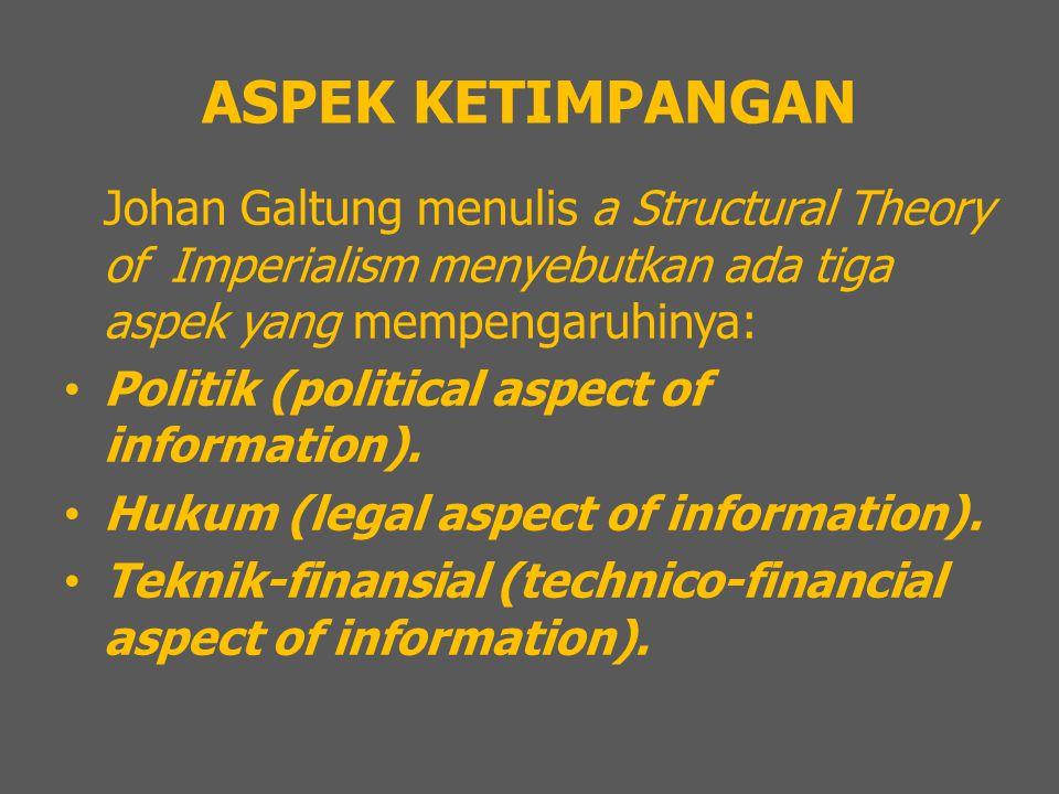 ASPEK KETIMPANGAN Johan Galtung menulis a Structural Theory of Imperialism menyebutkan ada tiga aspek yang mempengaruhinya: Politik (political aspect