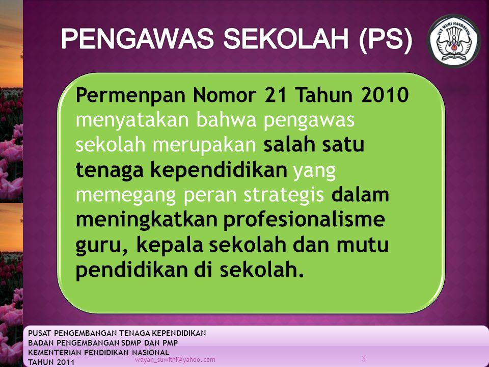 PUSAT PENGEMBANGAN TENAGA KEPENDIDIKAN BADAN PENGEMBANGAN SDMP DAN PMP KEMENTERIAN PENDIDIKAN NASIONAL TAHUN 2011 wayan_suwithi@yahoo.com 3 Permenpan