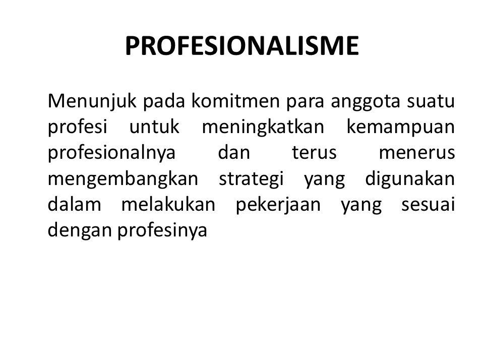 PROFESIONALITAS Mengacu pada sikap para anggota profesi terhadap profesinya serta derajat pengetahuan dan keahlian yang dimiliki dalam rangka melakukan pekerjaannya