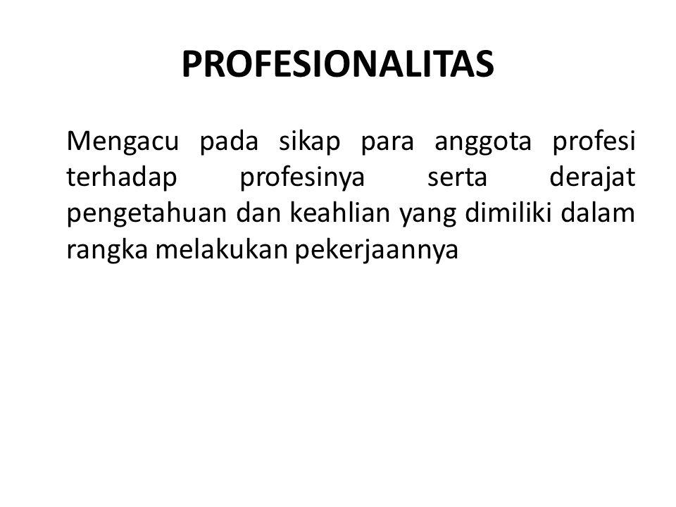 PROFESIONALISASI Menunjuk pada proses peningkatan kualifikasi maupun kemampuan para anggota profesi dalam mencapai kriteria yang standar sebagai suatu profesi