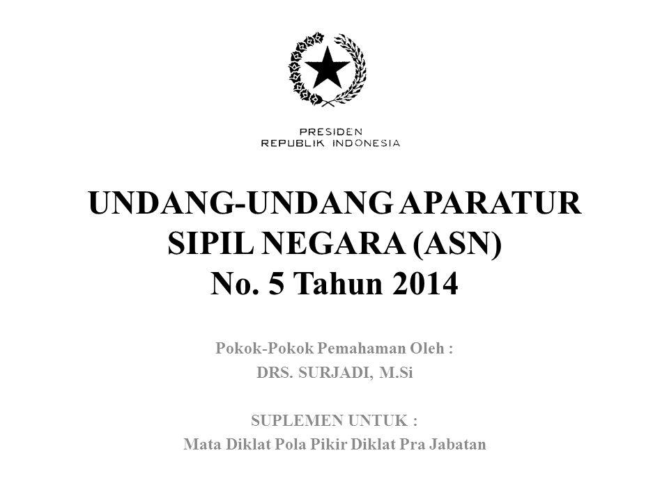 UNDANG-UNDANG APARATUR SIPIL NEGARA (ASN) No.5 Tahun 2014 Pokok-Pokok Pemahaman Oleh : DRS.