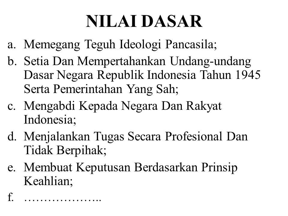 NILAI DASAR a.Memegang Teguh Ideologi Pancasila; b.Setia Dan Mempertahankan Undang-undang Dasar Negara Republik Indonesia Tahun 1945 Serta Pemerintaha