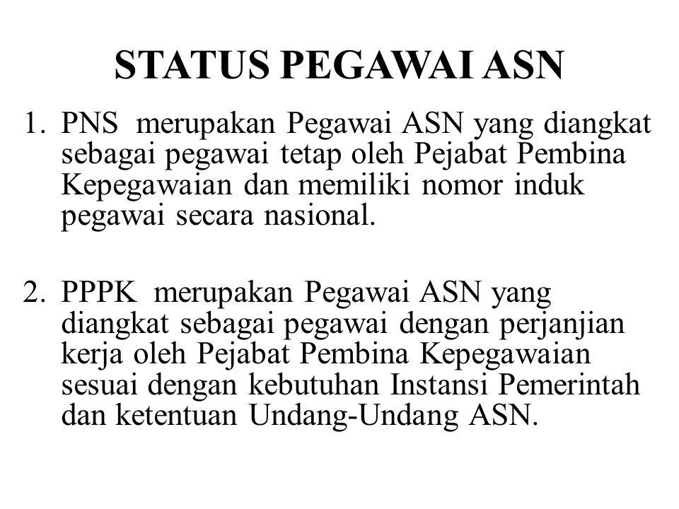 STATUS PEGAWAI ASN 1.PNS merupakan Pegawai ASN yang diangkat sebagai pegawai tetap oleh Pejabat Pembina Kepegawaian dan memiliki nomor induk pegawai s