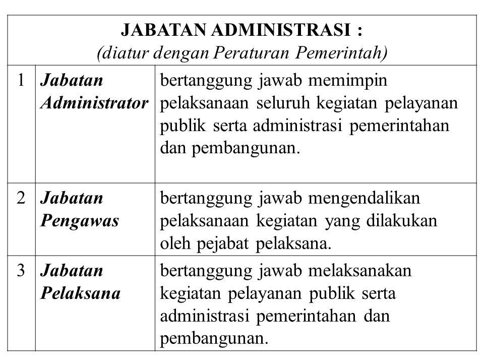 JABATAN ADMINISTRASI : (diatur dengan Peraturan Pemerintah) 1Jabatan Administrator bertanggung jawab memimpin pelaksanaan seluruh kegiatan pelayanan publik serta administrasi pemerintahan dan pembangunan.
