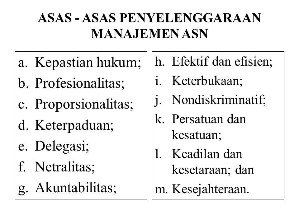 ASAS - ASAS PENYELENGGARAAN MANAJEMEN ASN a.Kepastian hukum; b.Profesionalitas; c.Proporsionalitas; d.Keterpaduan; e.Delegasi; f.Netralitas; g.Akuntab