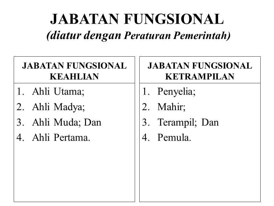 JABATAN FUNGSIONAL (diatur dengan Peraturan Pemerintah) JABATAN FUNGSIONAL KEAHLIAN 1.Ahli Utama; 2.Ahli Madya; 3.Ahli Muda; Dan 4.Ahli Pertama. JABAT