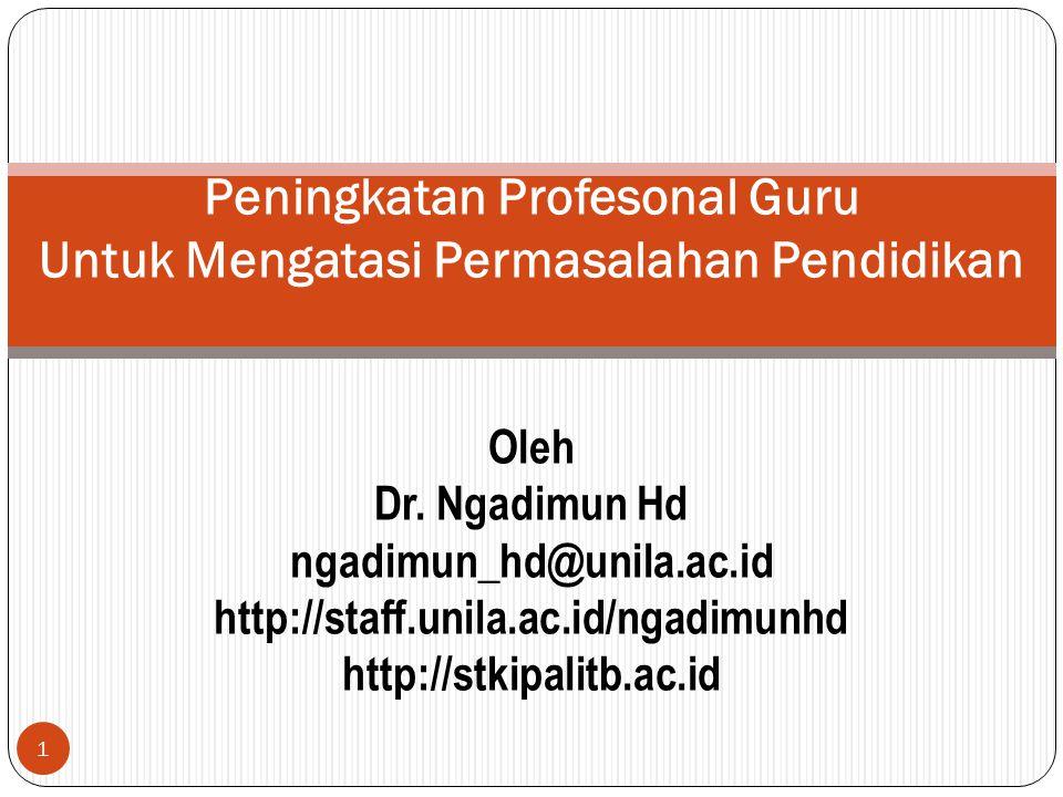 1 Peningkatan Profesonal Guru Untuk Mengatasi Permasalahan Pendidikan Oleh Dr.