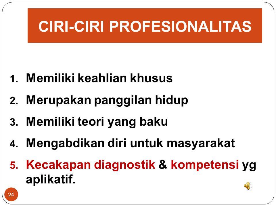 KONSEP DASAR PROFESIONALISME GURU 23 Apakah Profesional itu? Pekerjaan/kegiatan dilakukan oleh seseorang yg: 1. menjadi sumber penghasilan kehidupan,