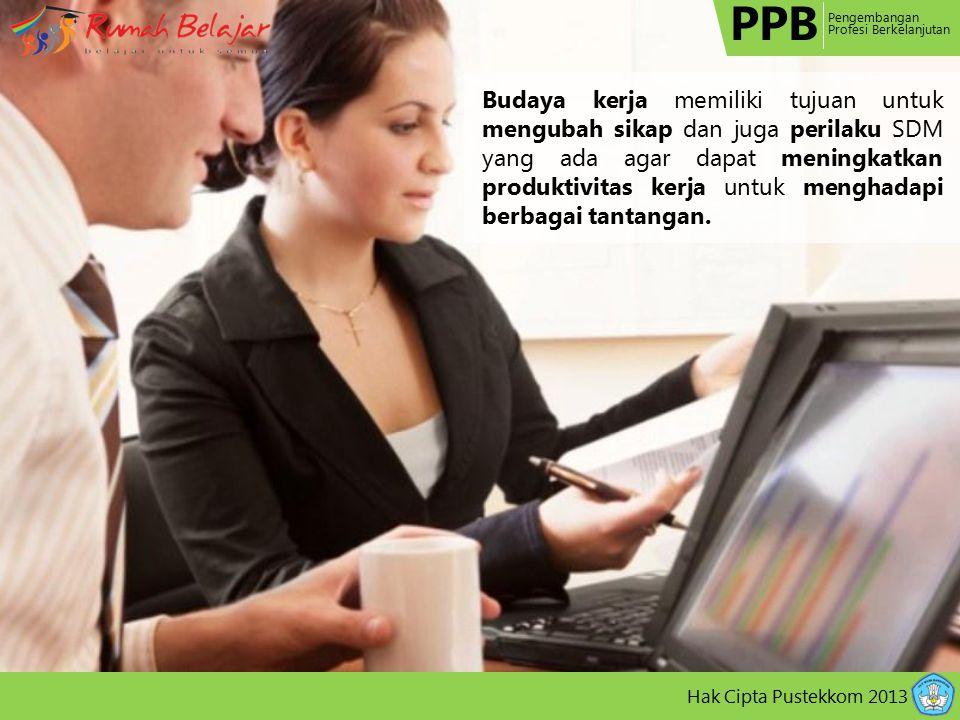 PPB Pengembangan Profesi Berkelanjutan Hak Cipta Pustekkom 2013 Budaya kerja memiliki tujuan untuk mengubah sikap dan juga perilaku SDM yang ada agar dapat meningkatkan produktivitas kerja untuk menghadapi berbagai tantangan.