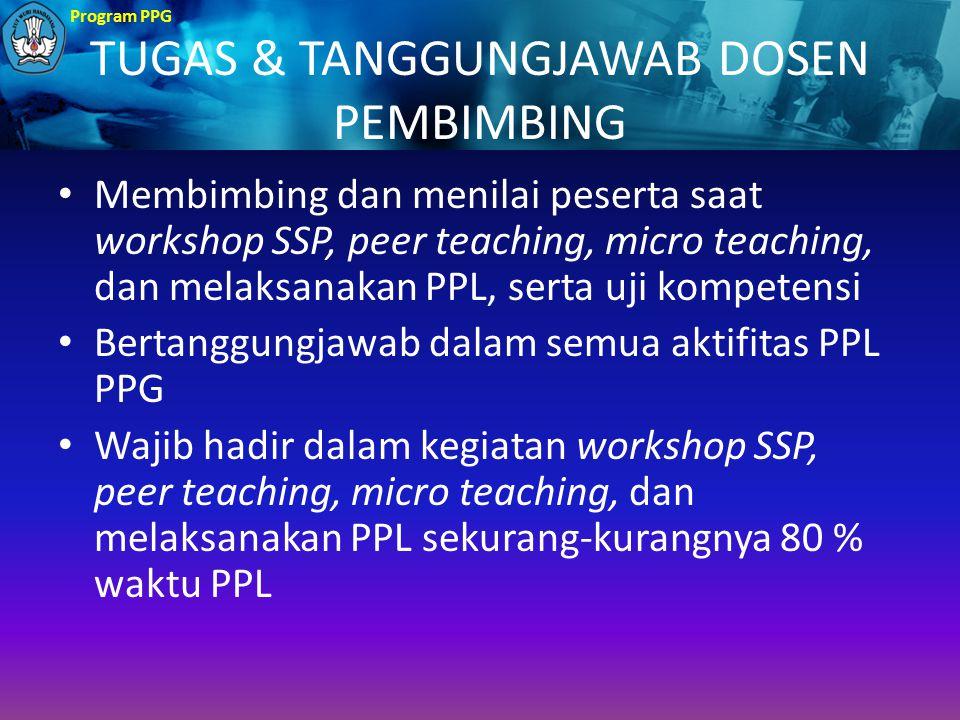 Program PPG TUGAS & TANGGUNGJAWAB DOSEN PEMBIMBING Membimbing dan menilai peserta saat workshop SSP, peer teaching, micro teaching, dan melaksanakan P