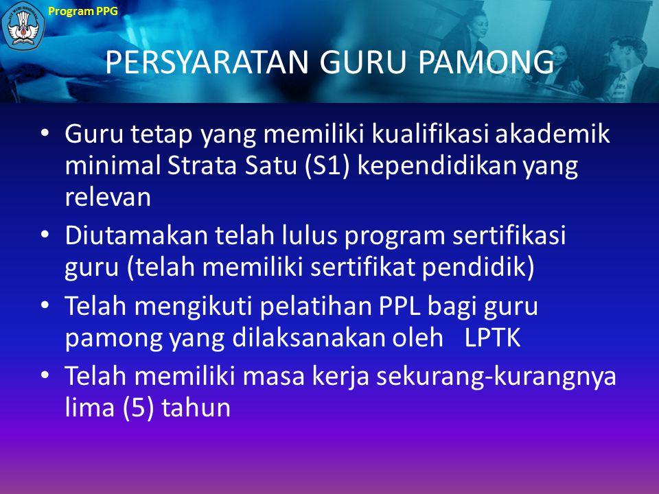 Program PPG PERSYARATAN GURU PAMONG Guru tetap yang memiliki kualifikasi akademik minimal Strata Satu (S1) kependidikan yang relevan Diutamakan telah