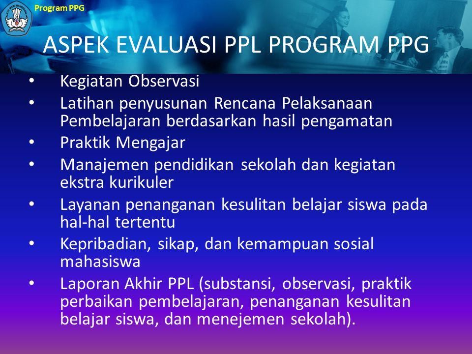 Program PPG ASPEK EVALUASI PPL PROGRAM PPG Kegiatan Observasi Latihan penyusunan Rencana Pelaksanaan Pembelajaran berdasarkan hasil pengamatan Praktik