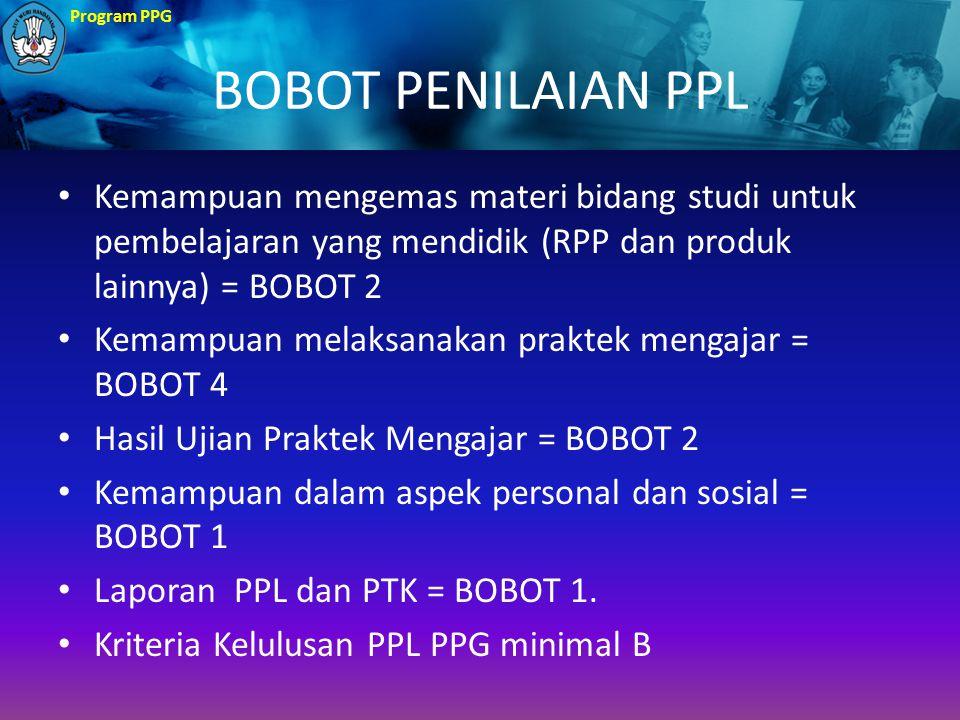 Program PPG BOBOT PENILAIAN PPL Kemampuan mengemas materi bidang studi untuk pembelajaran yang mendidik (RPP dan produk lainnya) = BOBOT 2 Kemampuan m