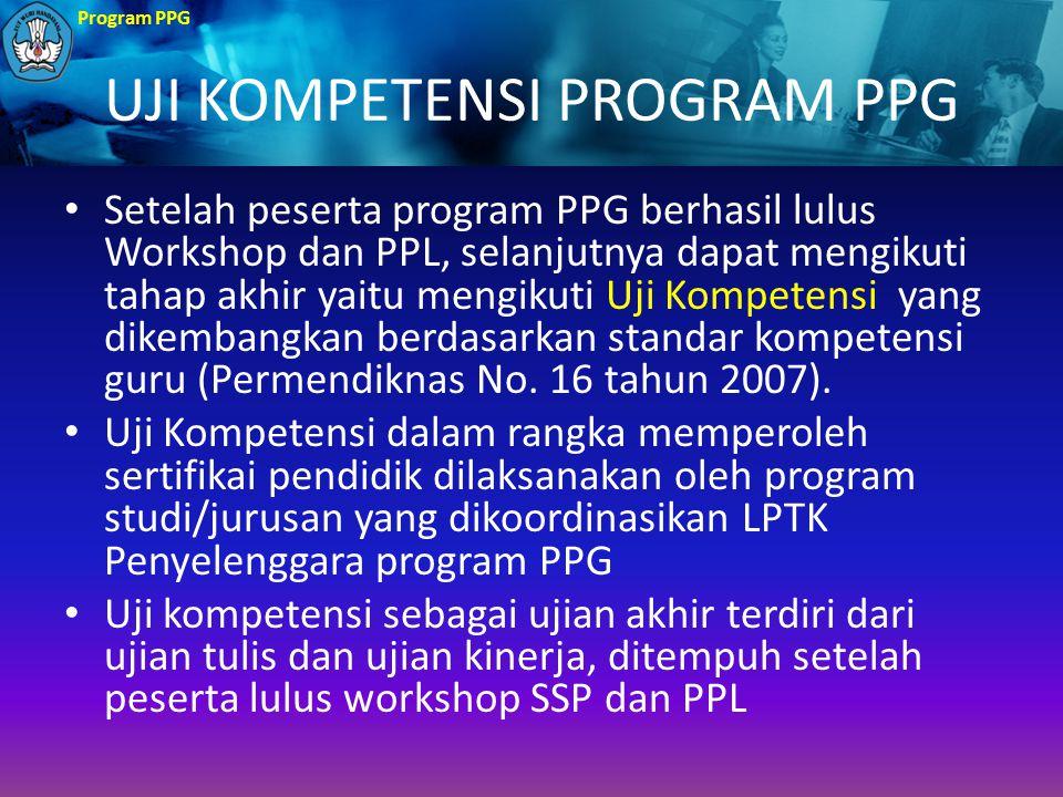 Program PPG UJI KOMPETENSI PROGRAM PPG Setelah peserta program PPG berhasil lulus Workshop dan PPL, selanjutnya dapat mengikuti tahap akhir yaitu meng