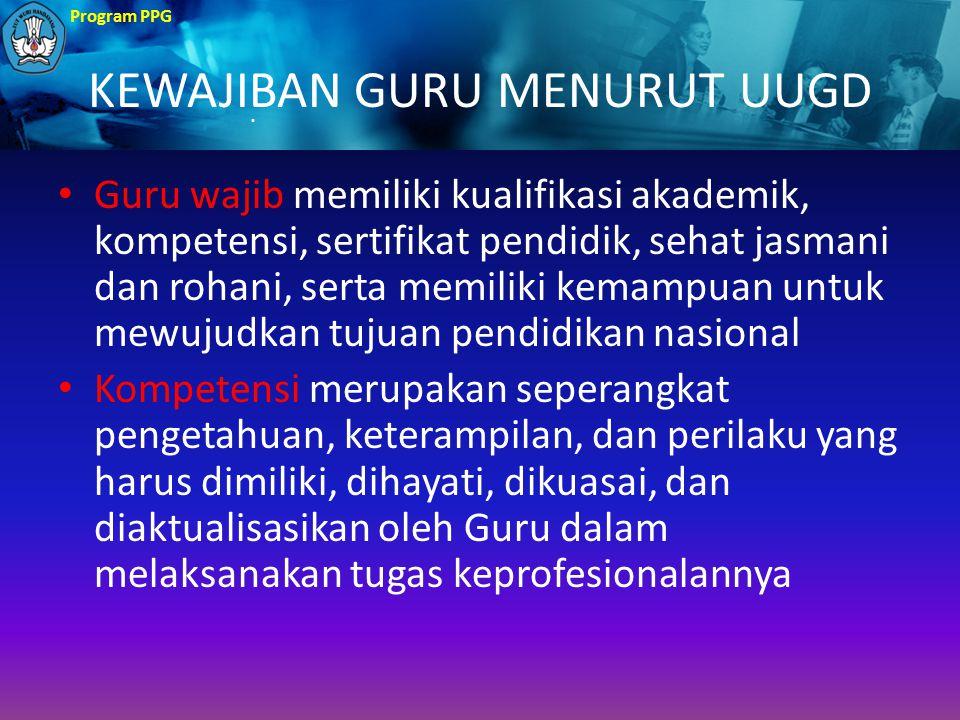 KEWAJIBAN GURU MENURUT UUGD Guru wajib memiliki kualifikasi akademik, kompetensi, sertifikat pendidik, sehat jasmani dan rohani, serta memiliki kemamp