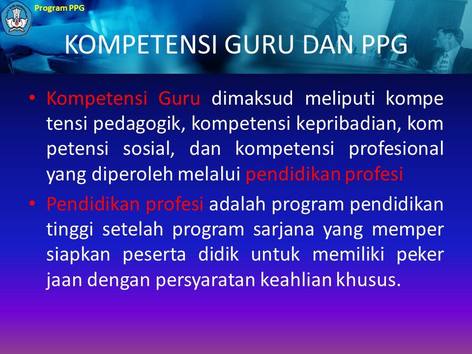 Program PPG KOMPETENSI GURU DAN PPG Kompetensi Guru dimaksud meliputi kompe tensi pedagogik, kompetensi kepribadian, kom petensi sosial, dan kompetens