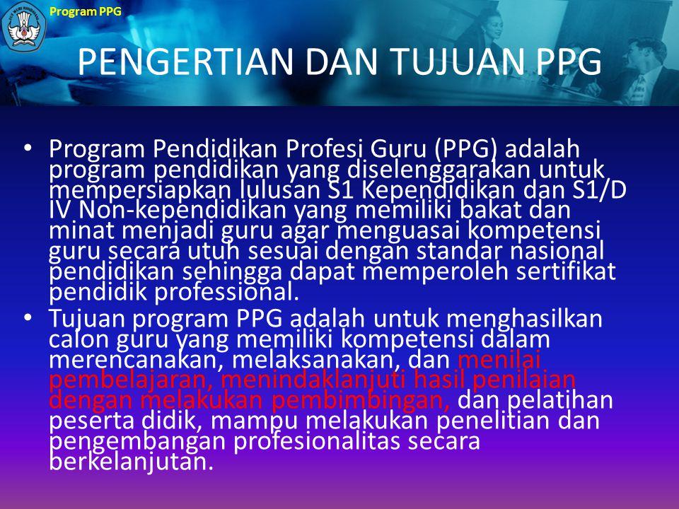 Program PPG STRUKTUR KURIKULUM PPG Struktur kurikulum program PPG berisi : (1) Subject Specific Pedagogy (SSP) (2) Program Pengalaman Lapangan Kependidikan Subject Specific Pedagogy : adalah kegiatan pengemasan materi bidang studi menjadi perangkat pembelajaran yang komprehensif, mencakup standar kompetensi, materi, strategi, metoda, media, serta evaluasi.