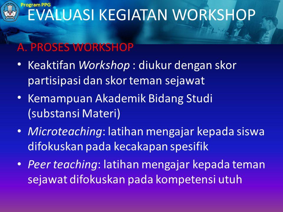 Program PPG EVALUASI KEGIATAN WORKSHOP A. PROSES WORKSHOP Keaktifan Workshop : diukur dengan skor partisipasi dan skor teman sejawat Kemampuan Akademi