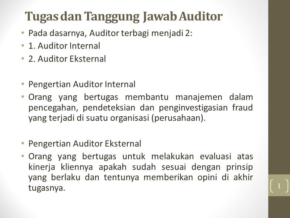 Tugas dan Tanggung Jawab Auditor Pada dasarnya, Auditor terbagi menjadi 2: 1. Auditor Internal 2. Auditor Eksternal Pengertian Auditor Internal Orang