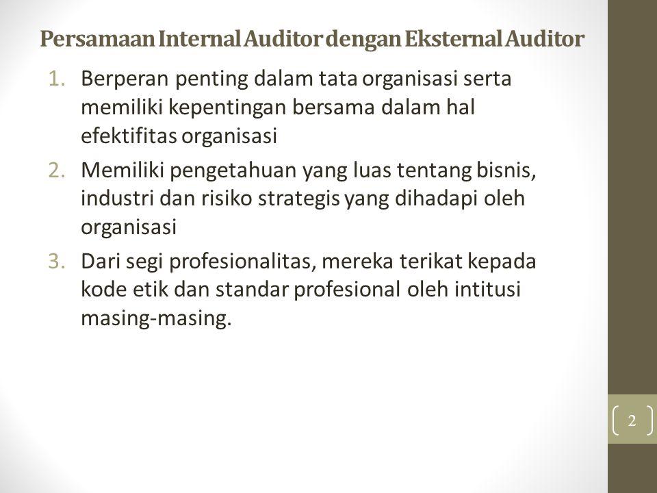 Persamaan Internal Auditor dengan Eksternal Auditor 1.Berperan penting dalam tata organisasi serta memiliki kepentingan bersama dalam hal efektifitas