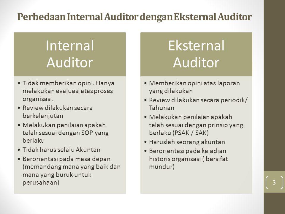 Perbedaan Internal Auditor dengan Eksternal Auditor Internal Auditor Tidak memberikan opini. Hanya melakukan evaluasi atas proses organisasi. Review d