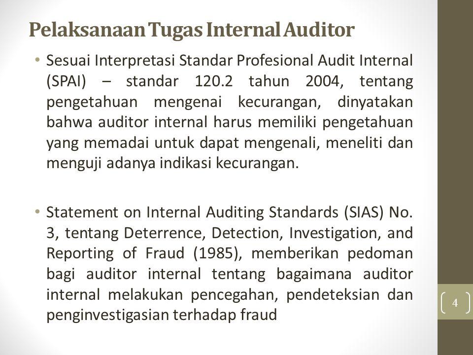 Pelaksanaan Tugas Internal Auditor Sesuai Interpretasi Standar Profesional Audit Internal (SPAI) – standar 120.2 tahun 2004, tentang pengetahuan menge