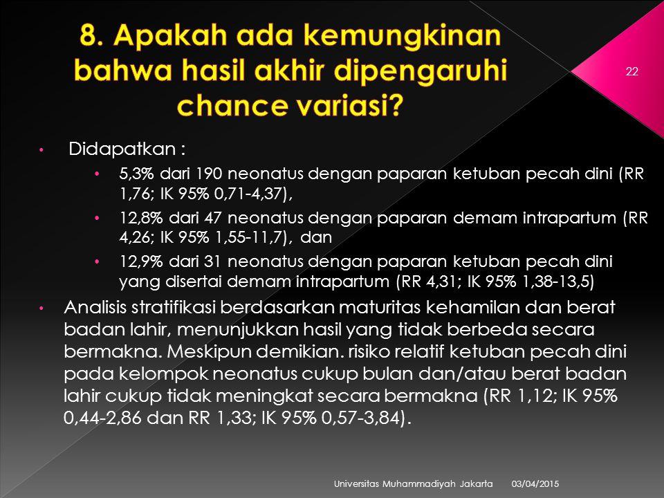 03/04/2015 Universitas Muhammadiyah Jakarta 22 Didapatkan : 5,3% dari 190 neonatus dengan paparan ketuban pecah dini (RR 1,76; IK 95% 0,71-4,37), 12,8% dari 47 neonatus dengan paparan demam intrapartum (RR 4,26; IK 95% 1,55-11,7), dan 12,9% dari 31 neonatus dengan paparan ketuban pecah dini yang disertai demam intrapartum (RR 4,31; IK 95% 1,38-13,5) Analisis stratifikasi berdasarkan maturitas kehamilan dan berat badan lahir, menunjukkan hasil yang tidak berbeda secara bermakna.