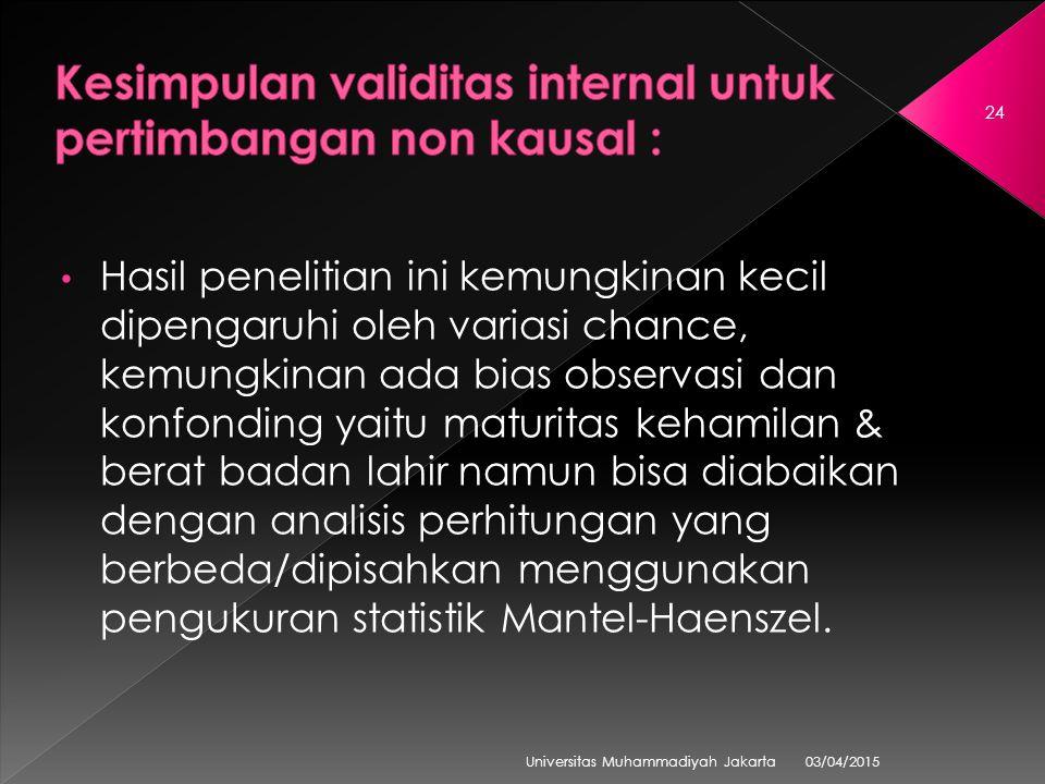 03/04/2015 Universitas Muhammadiyah Jakarta 24 Hasil penelitian ini kemungkinan kecil dipengaruhi oleh variasi chance, kemungkinan ada bias observasi dan konfonding yaitu maturitas kehamilan & berat badan lahir namun bisa diabaikan dengan analisis perhitungan yang berbeda/dipisahkan menggunakan pengukuran statistik Mantel-Haenszel.