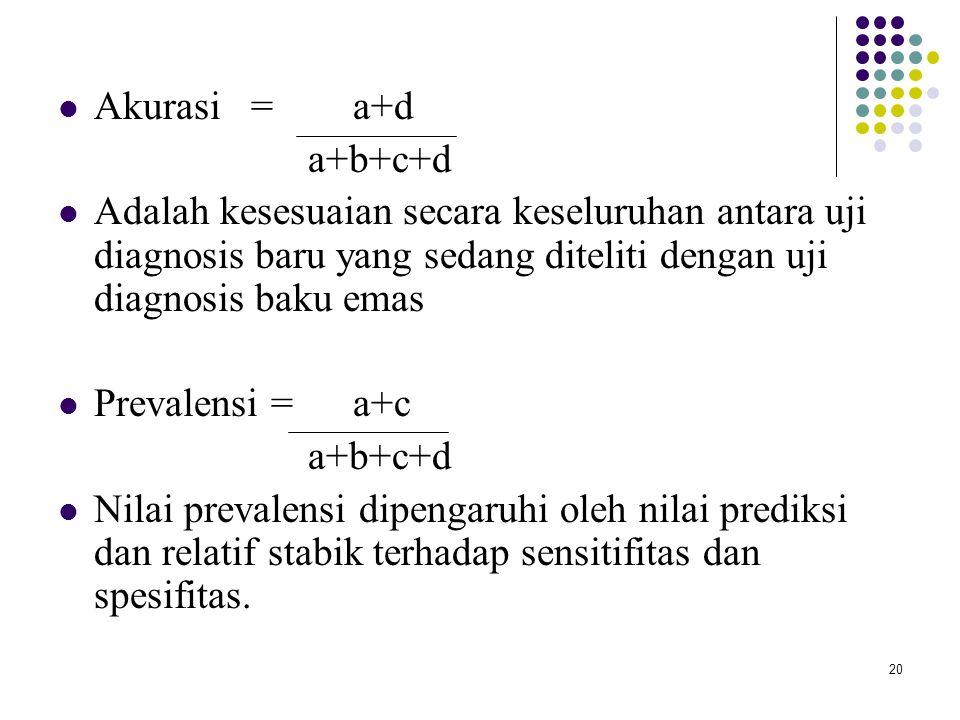 20 Akurasi = a+d a+b+c+d Adalah kesesuaian secara keseluruhan antara uji diagnosis baru yang sedang diteliti dengan uji diagnosis baku emas Prevalensi