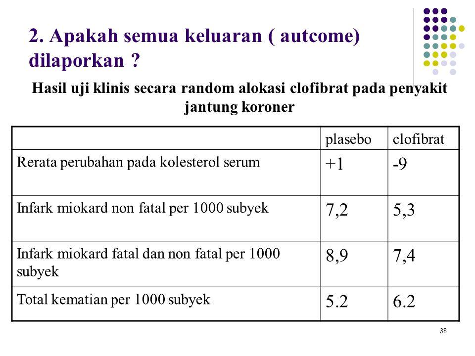 38 2. Apakah semua keluaran ( autcome) dilaporkan ? plaseboclofibrat Rerata perubahan pada kolesterol serum +1-9 Infark miokard non fatal per 1000 sub