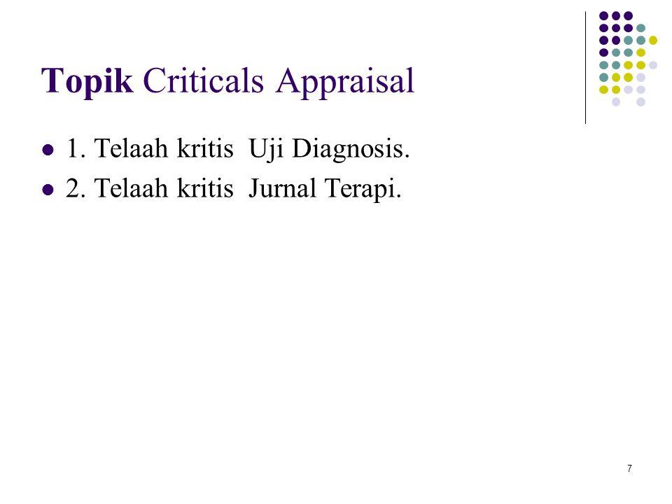 7 Topik Criticals Appraisal 1. Telaah kritis Uji Diagnosis. 2. Telaah kritis Jurnal Terapi.