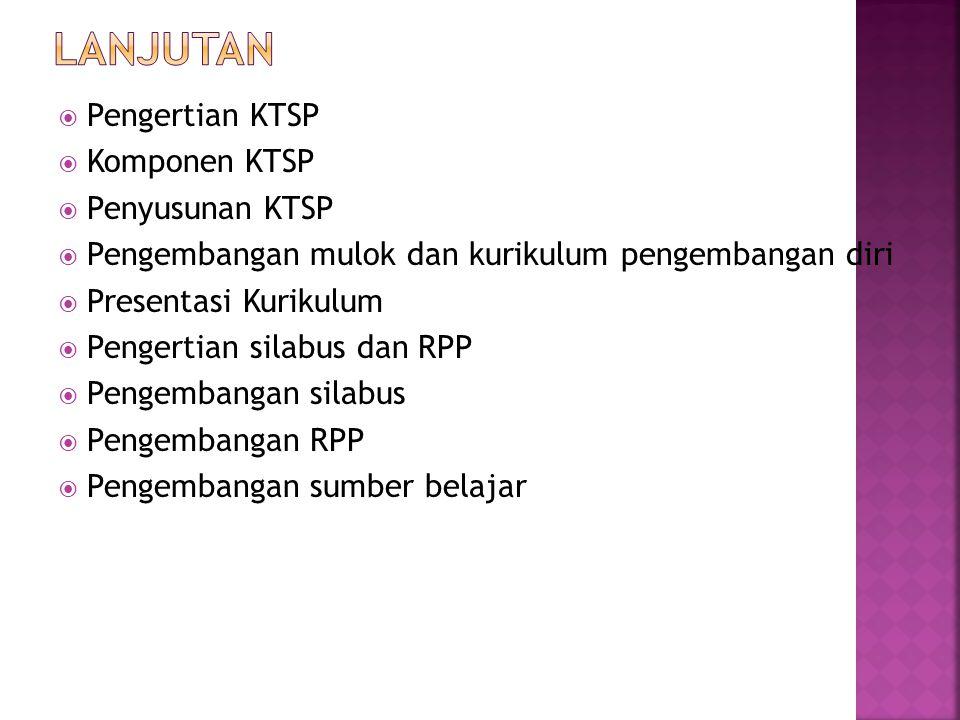  Pengertian KTSP  Komponen KTSP  Penyusunan KTSP  Pengembangan mulok dan kurikulum pengembangan diri  Presentasi Kurikulum  Pengertian silabus d