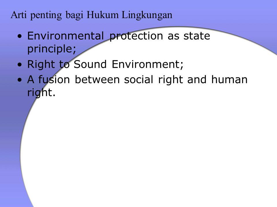 Arti penting bagi Hukum Lingkungan Environmental protection as state principle; Right to Sound Environment; A fusion between social right and human right.