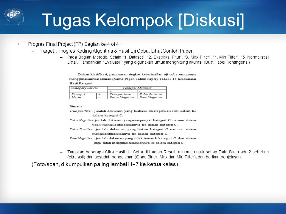 Jadwal Final Project Kelas-I 1.Introduction 2.Dasar Pengenalan Pola 1 3.Dasar Pengenalan Pola 2 4.Klasifikasi 1 5.Klasifikasi 2 6.Klasifikasi 3 7.Latihan 8.UTS 9.Topik Final Project 10.Latihan Regresi + [FP : Topik Final Project, Abstrak, Pendahuluan & Acc] 11.SVM + [FP : Progress Telaah min.