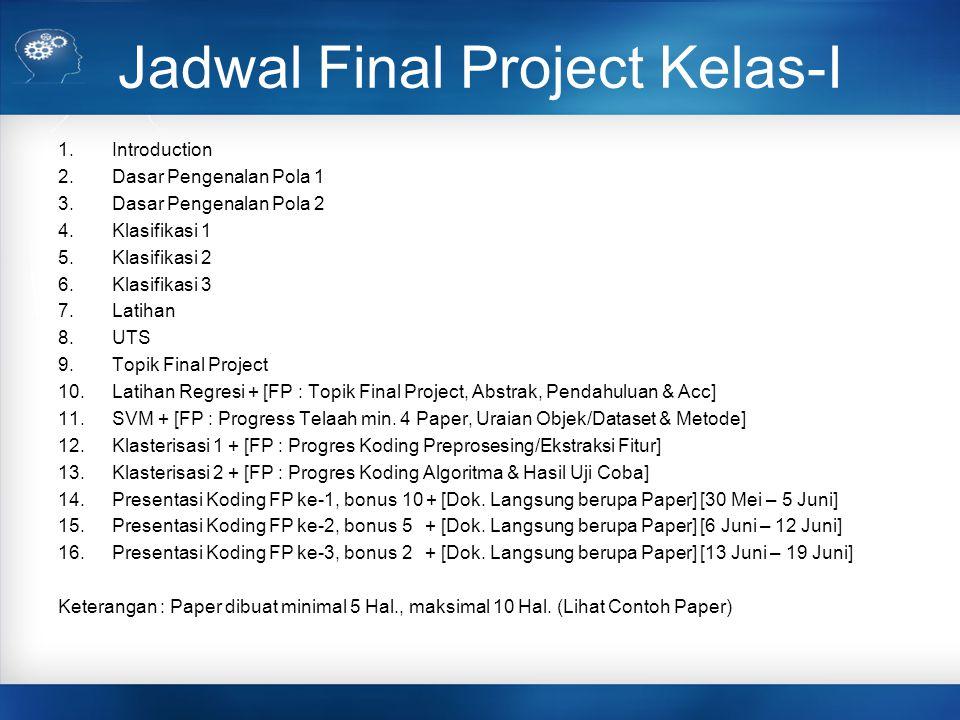 Jadwal Final Project Kelas-A 1.Introduction 2.Dasar Pengenalan Pola 1 3.Dasar Pengenalan Pola 2 4.Klasifikasi 1 5.Klasifikasi 2 6.Klasifikasi 3 7.Latihan 8.UTS 9.Topik Final Project 10.Latihan Regresi + [FP : Topik Final Project, Abstrak, Pendahuluan & Acc] 11.SVM + [FP : Progress Telaah min.