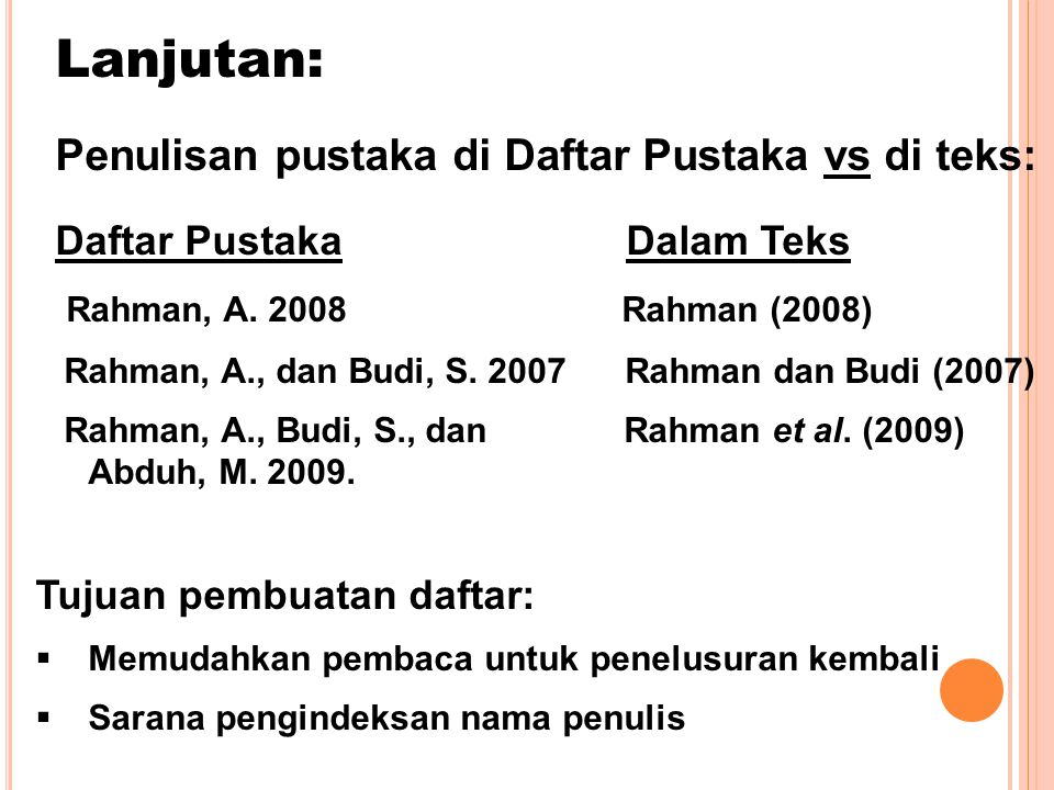 Lanjutan: Penulisan pustaka di Daftar Pustaka vs di teks: Daftar Pustaka Dalam Teks Rahman, A.