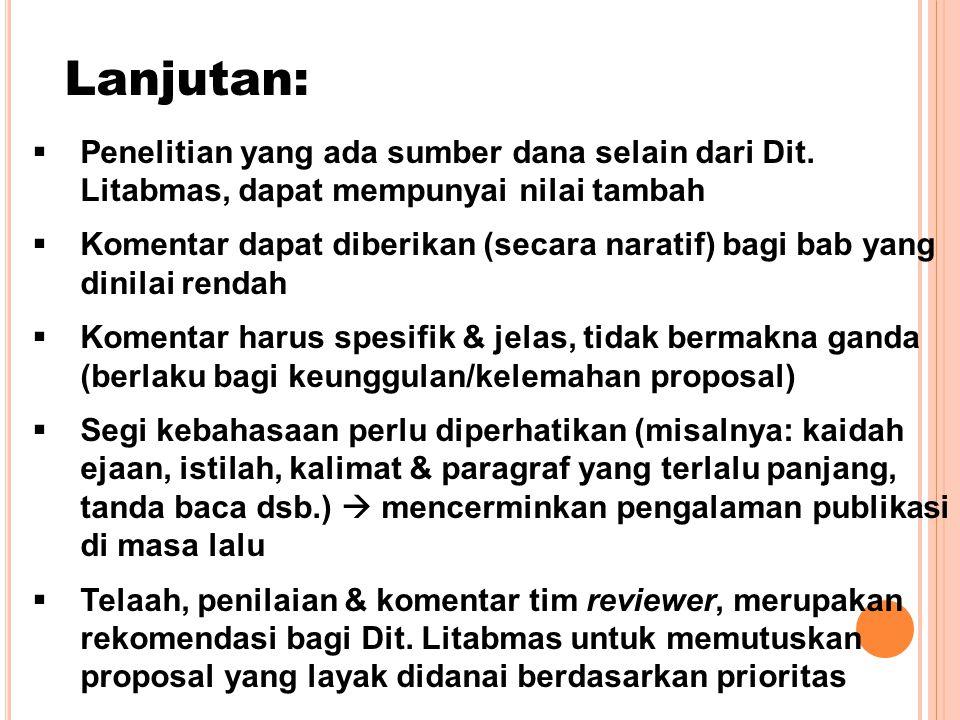 Lanjutan:  Penelitian yang ada sumber dana selain dari Dit.