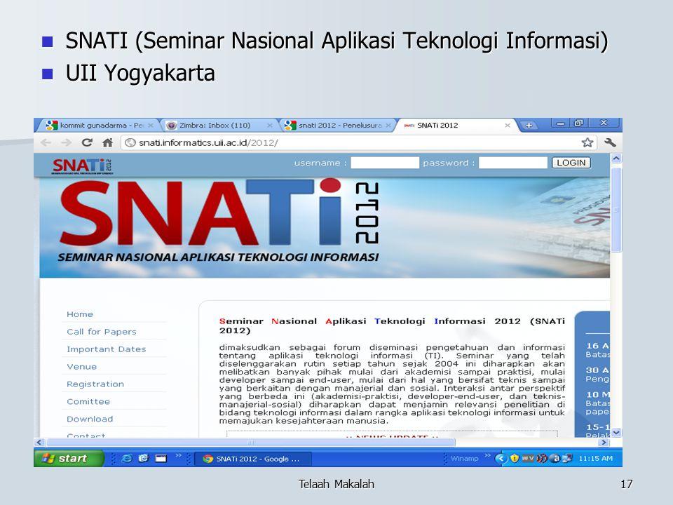 SNATI (Seminar Nasional Aplikasi Teknologi Informasi) SNATI (Seminar Nasional Aplikasi Teknologi Informasi) UII Yogyakarta UII Yogyakarta Telaah Makal