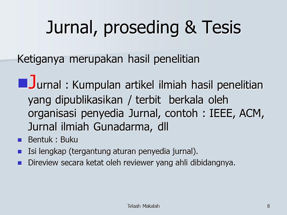 Jurnal, proseding & Tesis Ketiganya merupakan hasil penelitian J urnal : Kumpulan artikel ilmiah hasil penelitian yang dipublikasikan / terbit berkala