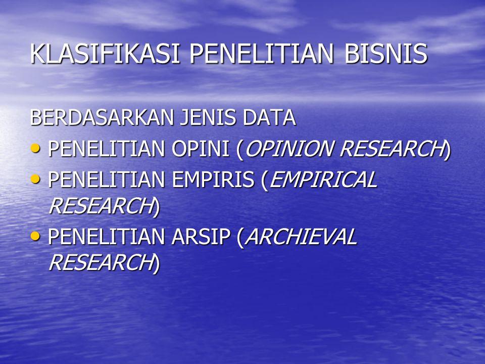 KLASIFIKASI PENELITIAN BISNIS BERDASARKAN JENIS DATA PENELITIAN OPINI (OPINION RESEARCH) PENELITIAN OPINI (OPINION RESEARCH) PENELITIAN EMPIRIS (EMPIRICAL RESEARCH) PENELITIAN EMPIRIS (EMPIRICAL RESEARCH) PENELITIAN ARSIP (ARCHIEVAL RESEARCH) PENELITIAN ARSIP (ARCHIEVAL RESEARCH)