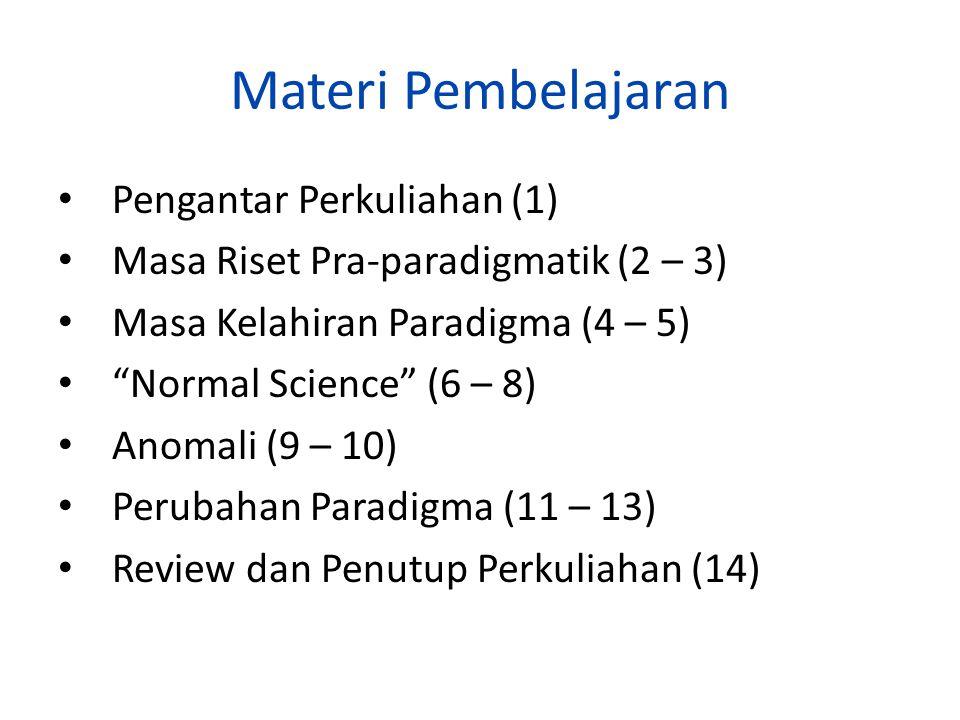 Materi Pembelajaran Pengantar Perkuliahan (1) Masa Riset Pra-paradigmatik (2 – 3) Masa Kelahiran Paradigma (4 – 5) Normal Science (6 – 8) Anomali (9 – 10) Perubahan Paradigma (11 – 13) Review dan Penutup Perkuliahan (14)