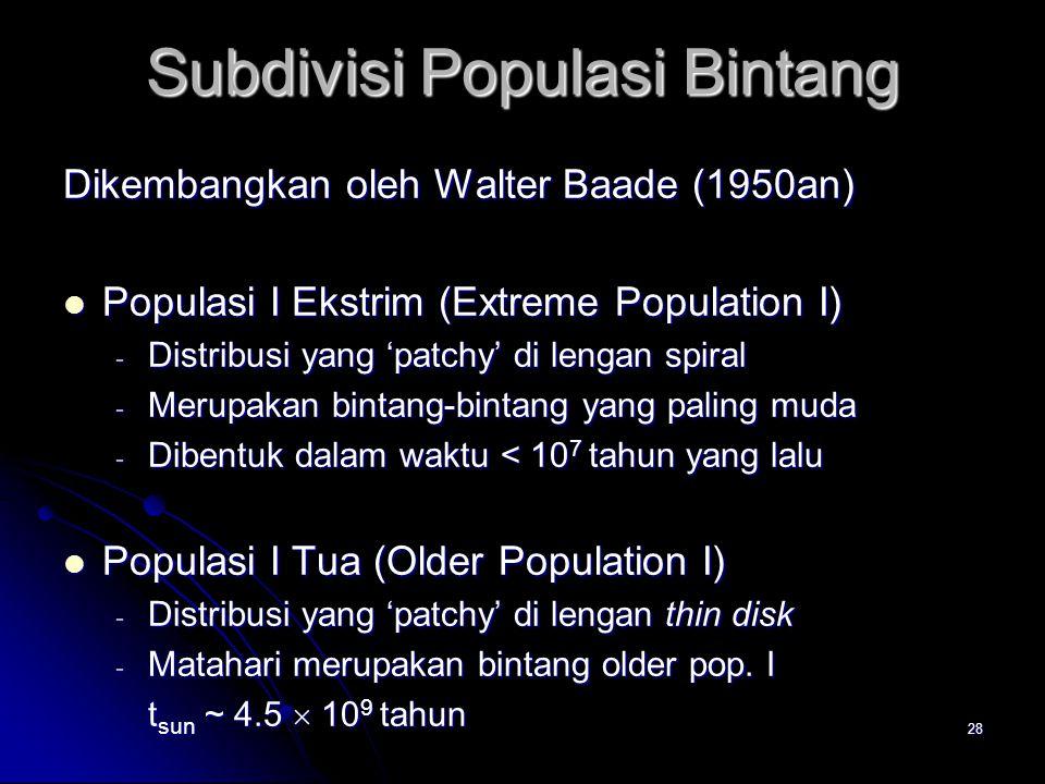 28 Subdivisi Populasi Bintang Dikembangkan oleh Walter Baade (1950an) Populasi I Ekstrim (Extreme Population I) Populasi I Ekstrim (Extreme Population