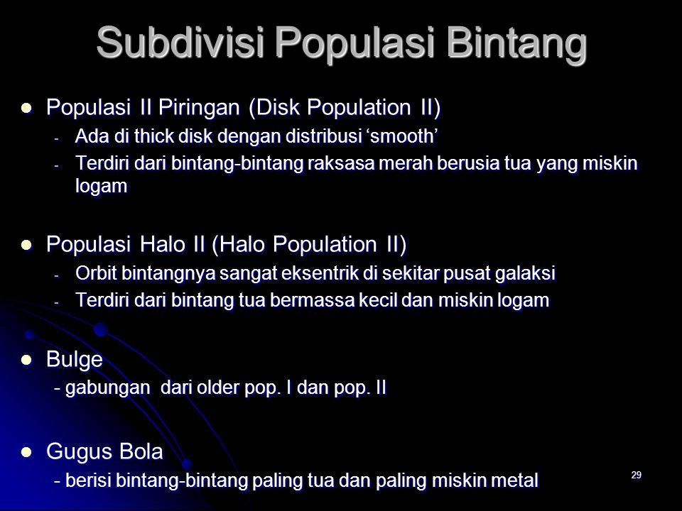 29 Subdivisi Populasi Bintang Populasi II Piringan (Disk Population II) Populasi II Piringan (Disk Population II) - Ada di thick disk dengan distribus