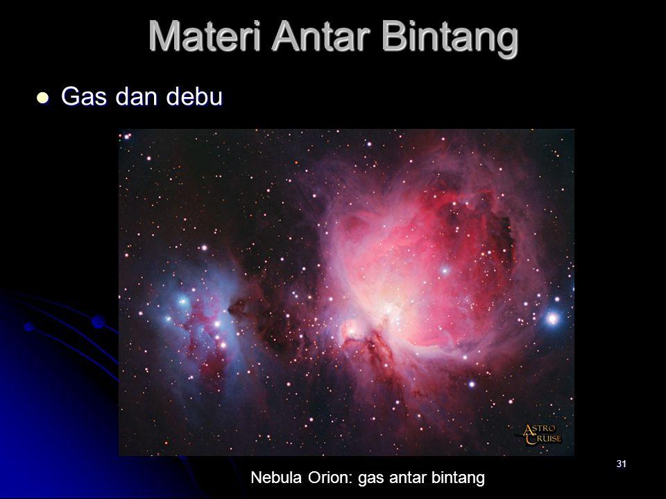 31 Materi Antar Bintang Gas dan debu Gas dan debu Nebula Orion: gas antar bintang