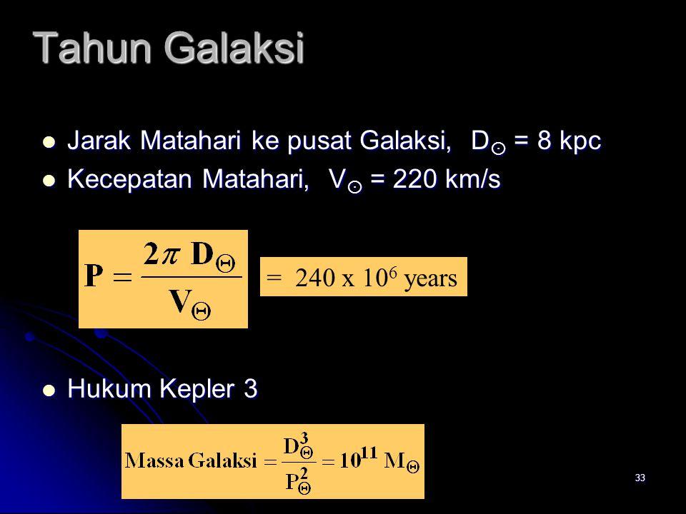 33 Tahun Galaksi Jarak Matahari ke pusat Galaksi, D  = 8 kpc Jarak Matahari ke pusat Galaksi, D  = 8 kpc Kecepatan Matahari, V  = 220 km/s Kecepata