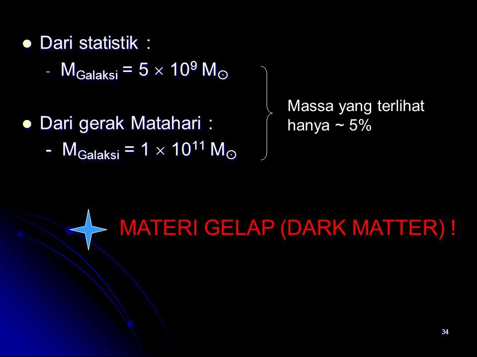 34 Dari statistik : Dari statistik : - M Galaksi = 5  10 9 M  Dari gerak Matahari : Dari gerak Matahari : - M Galaksi = 1  10 11 M  MATERI GELAP (