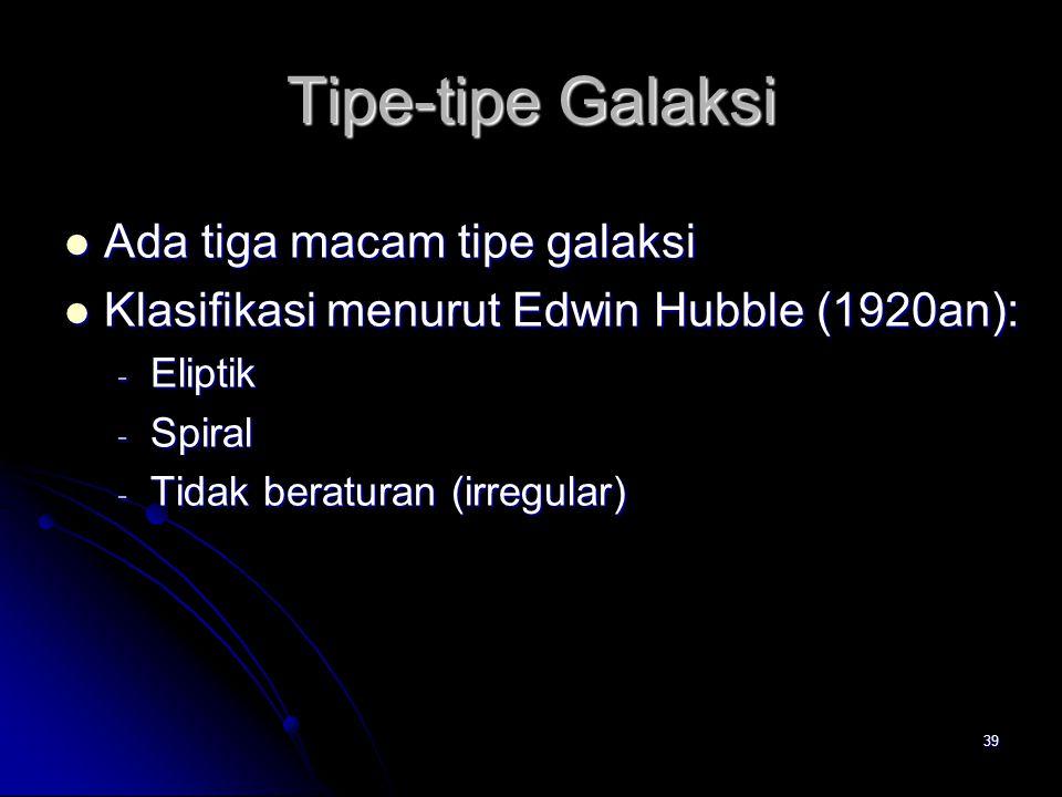 39 Tipe-tipe Galaksi Ada tiga macam tipe galaksi Ada tiga macam tipe galaksi Klasifikasi menurut Edwin Hubble (1920an): Klasifikasi menurut Edwin Hubb